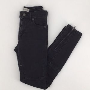 Madewell High Riser Skinny Jean Moto Black Patch
